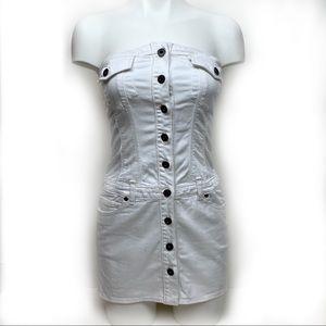 Dresses & Skirts - GUESS White Strapless Denim Dress XS
